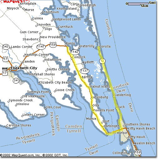 It is 20 miles north of Kitty Hawk To Corolla.  Click on the Map for More information on How to Find SmileAway!