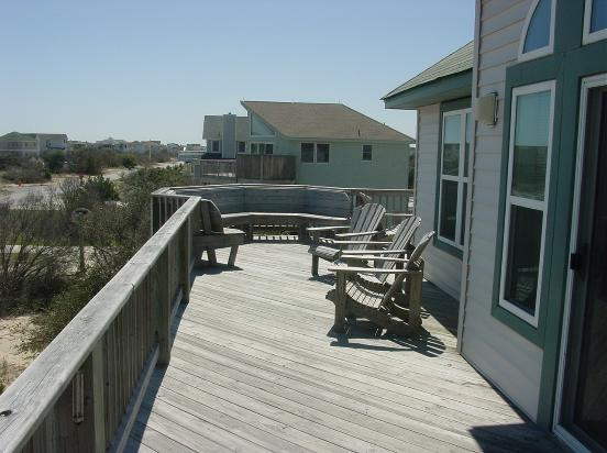 Upper deck on Smileaway...this view to the southeast.  Plenty of deck furniture